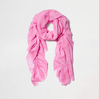 River Island Pink stripe jacquard frill scarf