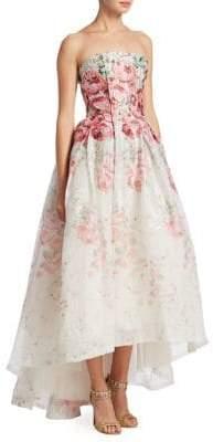 Monique Lhuillier Strapless Floral Midi Ball Gown