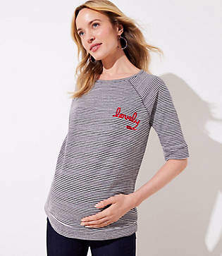 LOFT Maternity Lovely Striped Vintage Soft Sweatshirt Tee