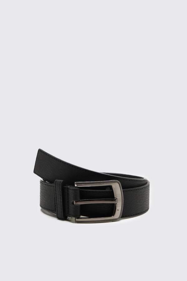 boohoo Large Buckle Bonded Leather Belt