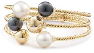 David Yurman Solari Three-Row Bracelet With South Sea White Pearl,