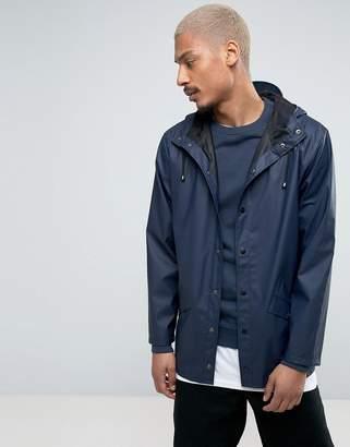 Rains Short Hooded Jacket Waterproof in Navy