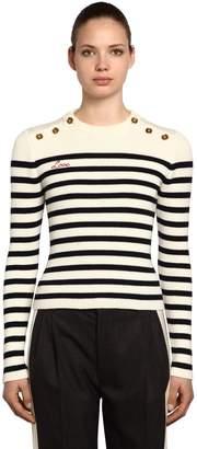 Miu Miu Striped Wool Sweater W/ Buttons