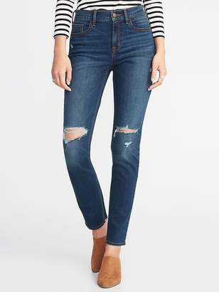 Old Navy Mid-Rise Distressed Straight Jeans for Women