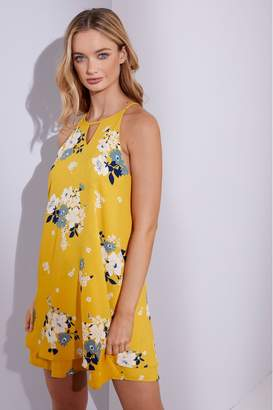Only Womens Keyhole Detail Printed Dress - Yellow
