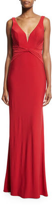 La Femme Sleeveless V-Neck Ruched Gown $250 thestylecure.com