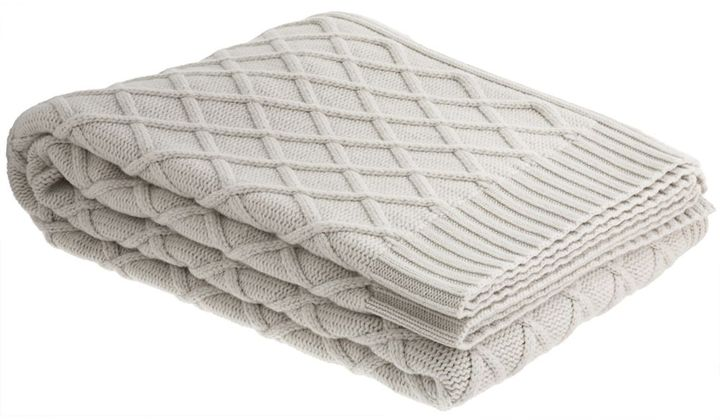 Barneys New York Diamond Grid Throw- White