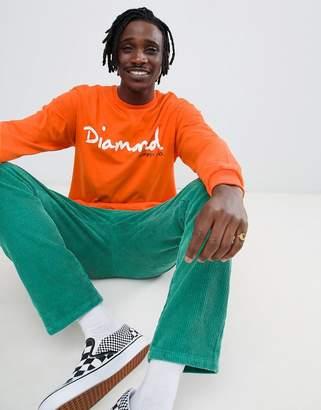 Diamond Supply Co. Long Sleeve T-Shirt With Script Logo In Orange