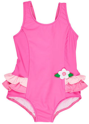 Florence Eiseman Ruffle-Trim Colorblock One-Piece Swimsuit, Pink, Size 6-24 Months $60 thestylecure.com