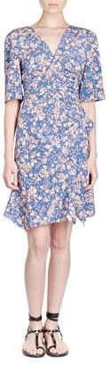 Isabel Marant Brodie Half-Sleeve Floral-Print Dress