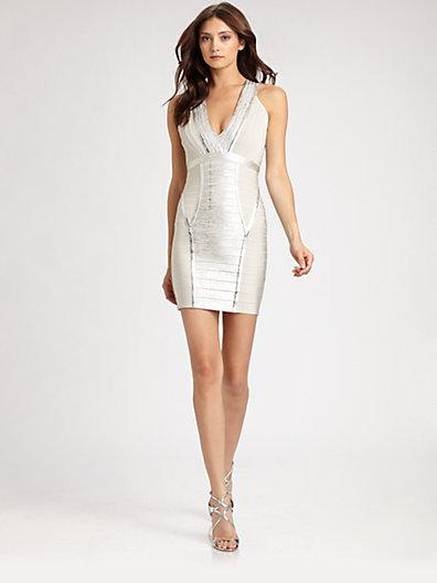 Herve Leger Foil Bandage Dress