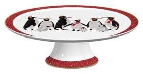 Portmeirion Footed Penguin 22K Gold and Porcelain Cake Plate