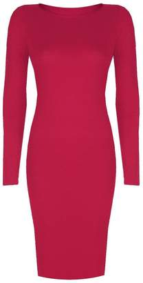 VIP Womens Long Sleeved Scoop Neck Midi Dress (Aqa) (4/6 (uk), )
