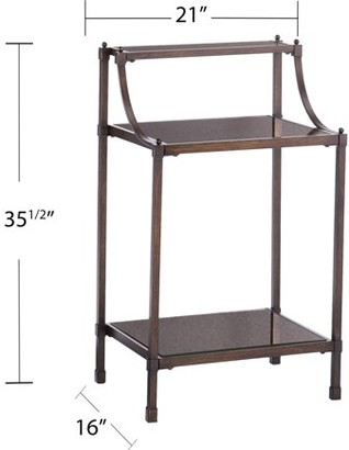 Southern Enterprises Tola Metal Accent Table with Antique Mirrored Top, Oil Rubbed Bronze