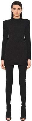 Balmain Lurex Knit Sweater Dress W/ Gold Buttons