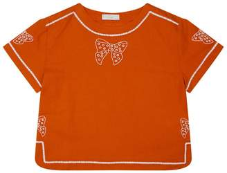 Stella McCartney Julienne Bow Embroidered Top