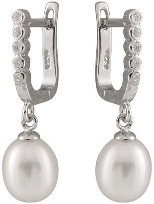 Splendid Pearls Silver 7.5-8Mm Pearl Cz Earrings