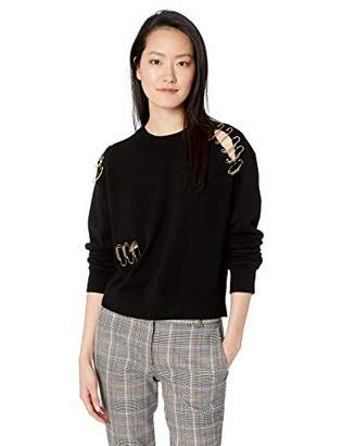 The Kooples Women's Women's Crewneck Sweater with Gold Safety Pin Details