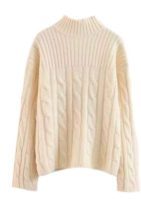 Goodnight Macaroon 'Orquida' Cable Knit Mock Neck Sweater (4 Colors)