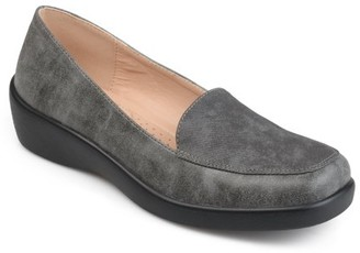 Co Brinley Women's Comfort Sole Faux Suede Square Toe Loafers