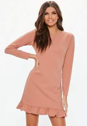 Missguided Pink Frill Detail Plain Shift Dress