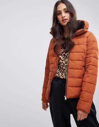 Miss Selfridge padded jacket in rust