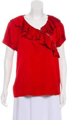 Marc by Marc Jacobs Ruffle-Accented Short Sleeve Top