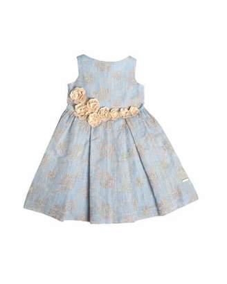 Pili Carrera Sleeveless Embroidered Linen-Blend Dress, Blue, Size 4-10 $277 thestylecure.com