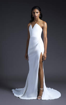 Cushnie Bridal Sasha Strapless Pointed Bodice Gown