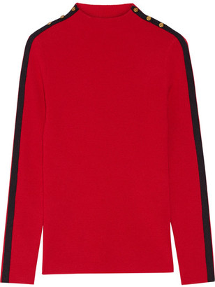 Tory Burch - Sardy Striped Ribbed Wool Turtleneck Sweater - Red $250 thestylecure.com