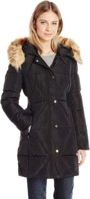 Jessica Simpson Women's Puffer with Faux Fur Collar