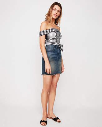 Express High Waisted Denim Mini Pencil Skirt