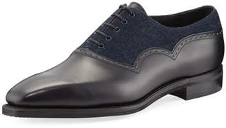 Corthay Wilfrid Denim & Leather Lace-Up Shoe