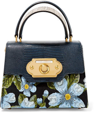 Dolce & Gabbana Welcome Small Jacquard And Watersnake Tote - Blue