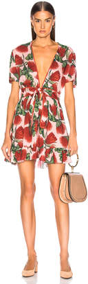 Adriana Degreas Fiore Short Dress With Knot Detail in Rose   FWRD
