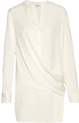 DKNY - Wrap-effect Silk-blend Satin-paneled Crepe De Chine Blouse - Ivory $360 thestylecure.com