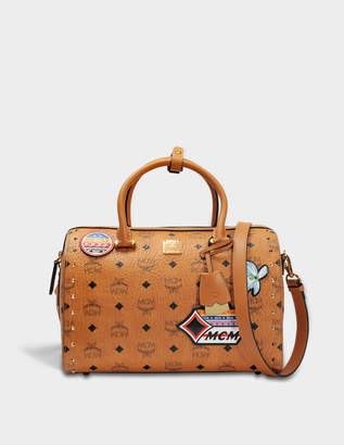 MCM Boston Medium Bag with Patches in Cognac Visetos