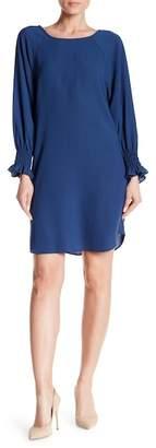 Nine West Long Sleeve Crepe Shift Dress