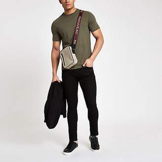 River Island Mens Khaki slim fit short sleeve T-shirt