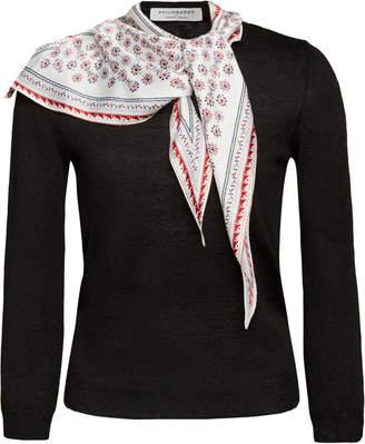 Philosophy di Lorenzo Serafini Linen-Blend Scarf-Neck Sweater