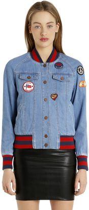 Patches Denim Bomber Jacket Gigi Hadid $325 thestylecure.com