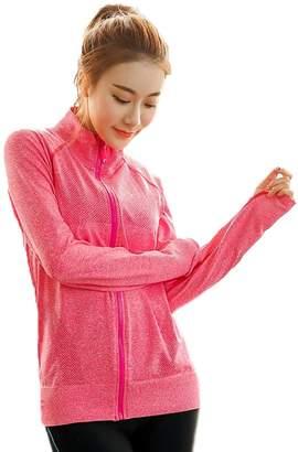 Senchanting Plus Size Full Zip Workout Jacket with Thumb Holes Yoga Sweatshirts(,XL)
