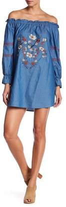 Blu Pepper Embroidered Off-the-Shoulder Chambray Dress