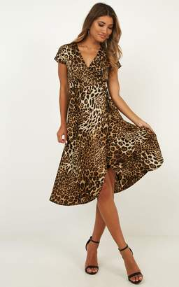 Showpo Salsa Wrap Dress in leopard print - 6 (XS) Sale Dresses