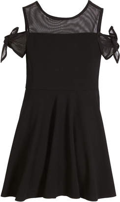 Sally Miller Bailey Cold-Shoulder Sheer-Trim Dress, Size S-XL