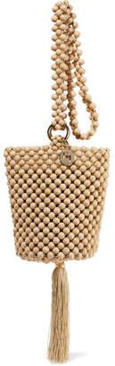 Rosantica Lucy Tasseled Beaded Bucket Bag - Beige