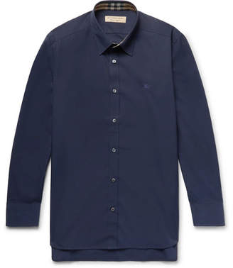 Burberry Slim-Fit Stretch-Cotton Poplin Shirt - Navy