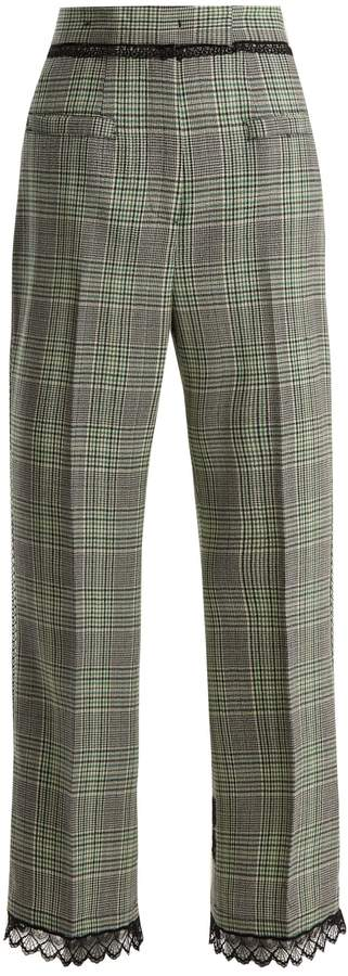 MSGM Macramé lace-trimmed wool trousers