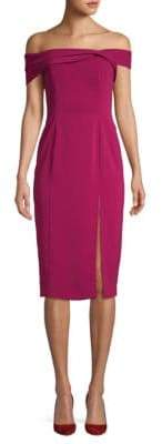 Jay Godfrey Off-The-Shoulder Twist Sheath Dress