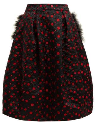 Simone Rocha Floral Embroidered Satin Midi Skirt - Womens - Black Red